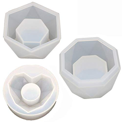 Mirror Plants Pot Mould,Simple Home Decoration Silicone Flower Pot Mold,DIY Ashtray Candle Holder DIY Small Molds,for Indoor Outdoor Home Decor,Easy to Use,3 Pcs Set