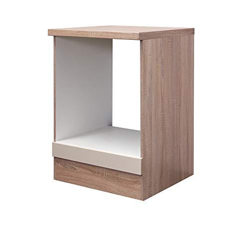 Flex-Well Herd-Umbauschrank NEPAL - Küchenschrank - Ofenschrank - Breite 60 cm - Creme glänzend/Eiche Sonoma