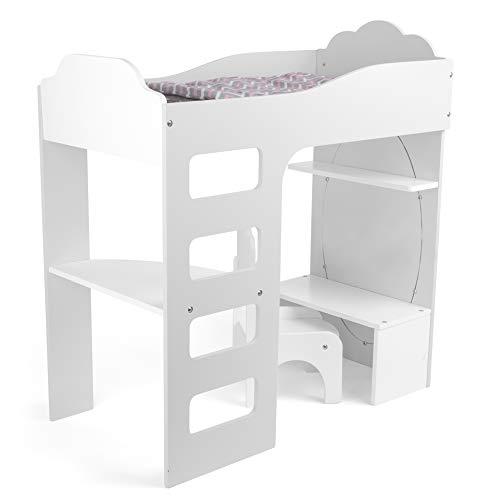 small foot 12025 Puppenhochbett aus Holz, mit Leiter, Bettwäsche, Schreibtisch, Stuhl und Spiegel, ab 3 Jahren