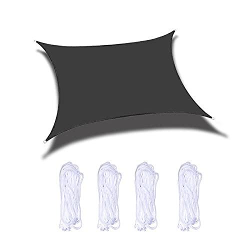 ZPYXBH Vela De Sombra Solar Rectángulo, Toldo Vela De Sombra UV Prevención Permeable Transpirable, Velas De Sombra para Jardín Patio Terraza Balcón Exteriores Pérgola con Cuerda,Negro,6.5'x8.2'