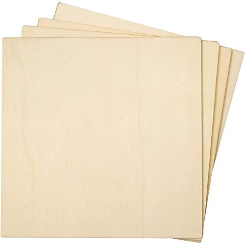 Recortes de Azulejos de Madera sin terminar Bright Creations -(paquete de 36) - ideal para manualidades, proyectos de arte y decoración del hogar, 12,7 cm x 12,7 cm
