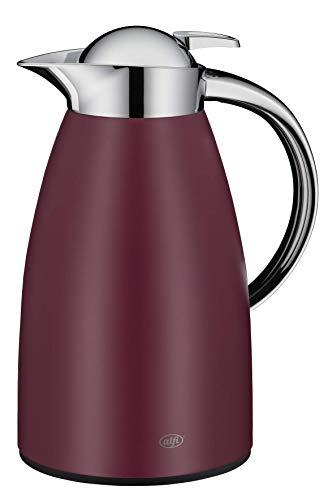 alfi Kaffeekanne Signo, Thermoskanne Metall rot 1L, mit alfiDur Glaseinsatz, 1421.240.100, Isolierkanne hält 12 Stunden heiß, ideal für Kaffee oder Teekanne, Kanne für 8 Tassen
