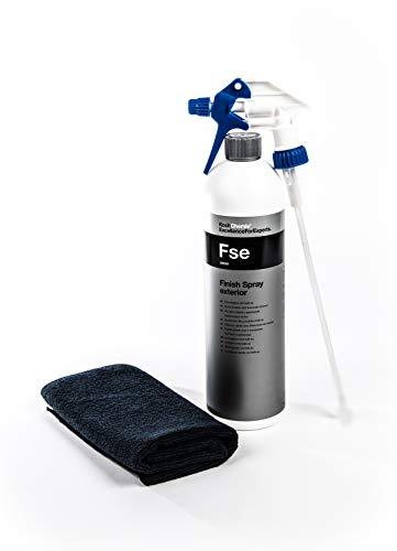 Koch Chemie Finish Spray Exterior - Spray lucidante rapido con Kalk-Ex FSE + Clean 2 testine Spray + Panno in Microfibra 40 x 40 cm, Nero