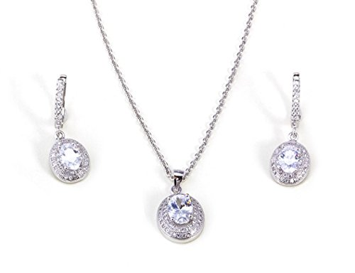Plata de ley chapado en platino con creado Juego de Neckace y pendientes de diamante