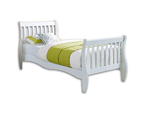 Unmatchable Pine Single Bed Frame White or Natural 3FT Size Solid Wood Bed New Sleigh Design (White)