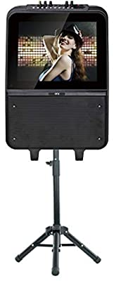 "QFX KAR-900 8"" Portable Karaoke Speaker System with 15"" LED Touch Screen, Microphone, and Tripod Stand"