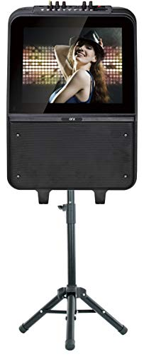 """QFX KAR-900 8"""" Portable Karaoke Speaker System with 15"""" LED Touch Screen, Microphone, and Tripod Stand"""