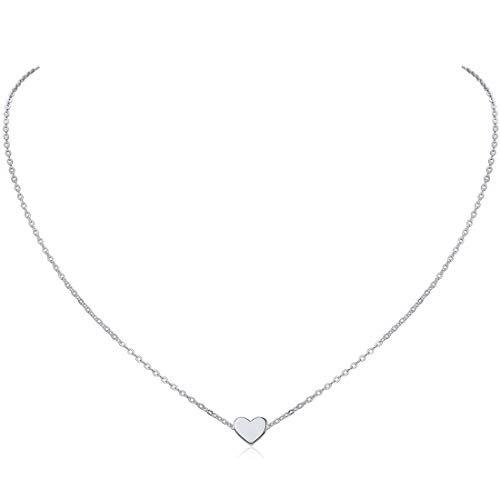 925 Sterling Silver Tiny Heart Pendant Necklace Endlessness Love Dainty Necklace, 16""