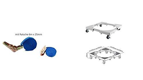 Waschmaschine Roller Trolley einstellbare Waschmaschine Base bewegliche Verstellbare Sockel mit 4 drehbarem Gummi Räder für Trockner, Waschmaschine und Kühlschrank + Sicherheitsgurt mit Ratsche