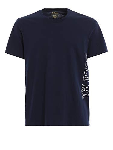Ralph Lauren - T-Shirt da Uomo a Manica Corta con Lettere Laterali Polo RL Blu Scuro 714730607006 - Argento, L