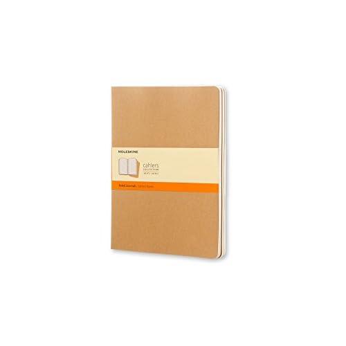Moleskine Cahier Journal, Set 3 Quaderni con Pagina a Righe, Copertina in Cartoncino e Cucitura a Vista, Colore Marrone Avana, Dimensione Extra Large 19 x 25 cm, 120 Pagine
