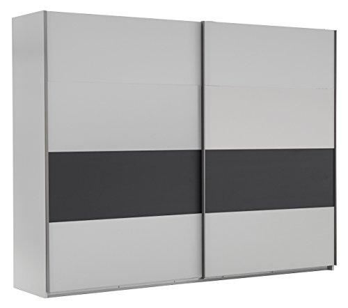 Wimex Kleiderschrank/ Schwebetürenschrank Bert, 2 Türen, (B/H/T) 225 x 210 x 65 cm, Weiß/ Absetzung Anthrazit