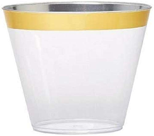 100 piece 9 ounce Party Cups Old Fashioned Gold Rimmed Tumblers Fancy Disposable Wedding Cups Elegant 9 oz Party Cups by Oojami