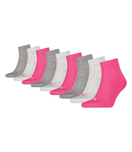 9 Paar Puma Unisex Quarter Socken Sneaker Gr. 35 - 49 für Damen Herren Füßlinge, Farbe:656 - middle grey mélange/pink, Socken und Strümpfe:39-42
