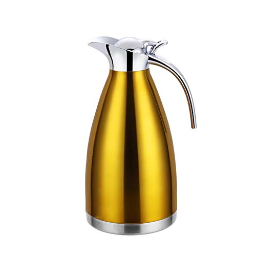 304 Edelstahl Doppelwand Vakuum Isolierte Kaffee Topf Kaffee Thermos Kaffee Plunger Saft/Milch/Tee Isolierung Topf,Gold,1.5 L(24 Hours Insulation)