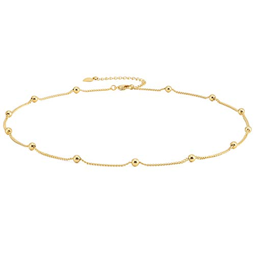Gold Choker Necklace for Women 18k Gold Plated Curb Ball Satellite Chain Dipped Short Chokers Dainty Layering Jewelry 16''