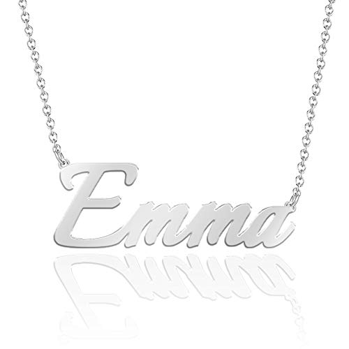 SOUFEEL Name Necklaces Pendant Personalized Necklace Custom Made Nameplate Gifts Copper Plated Silver, Rose Gold, 14K Gold for Her, Girls, Mother, Women, Men, Boys, Kids Emma - Silver