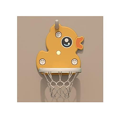 Tablero de Baloncesto Soporte de Baloncesto de la Ventosa para niños, Puede Levantar y Bajar el aro de Baloncesto Interior Plegable del bebé, Juguete de Baloncesto (Color : Yellow)