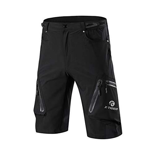 X-TIGER Pantalones Cortos de Ciclo Holgados de Hombres, Transpirables Sueltos, para MTB de los Deportes al Aire Libre (M, Negro)