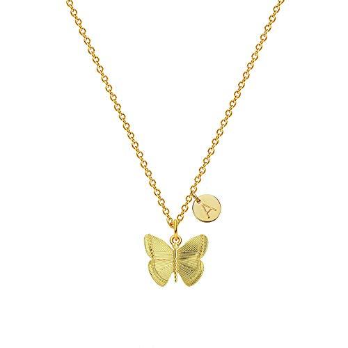 Collar de mariposa inicial para mujer, bonito collar con colgante de disco de 1-5 letras de mariposa, regalo de joyería de moda