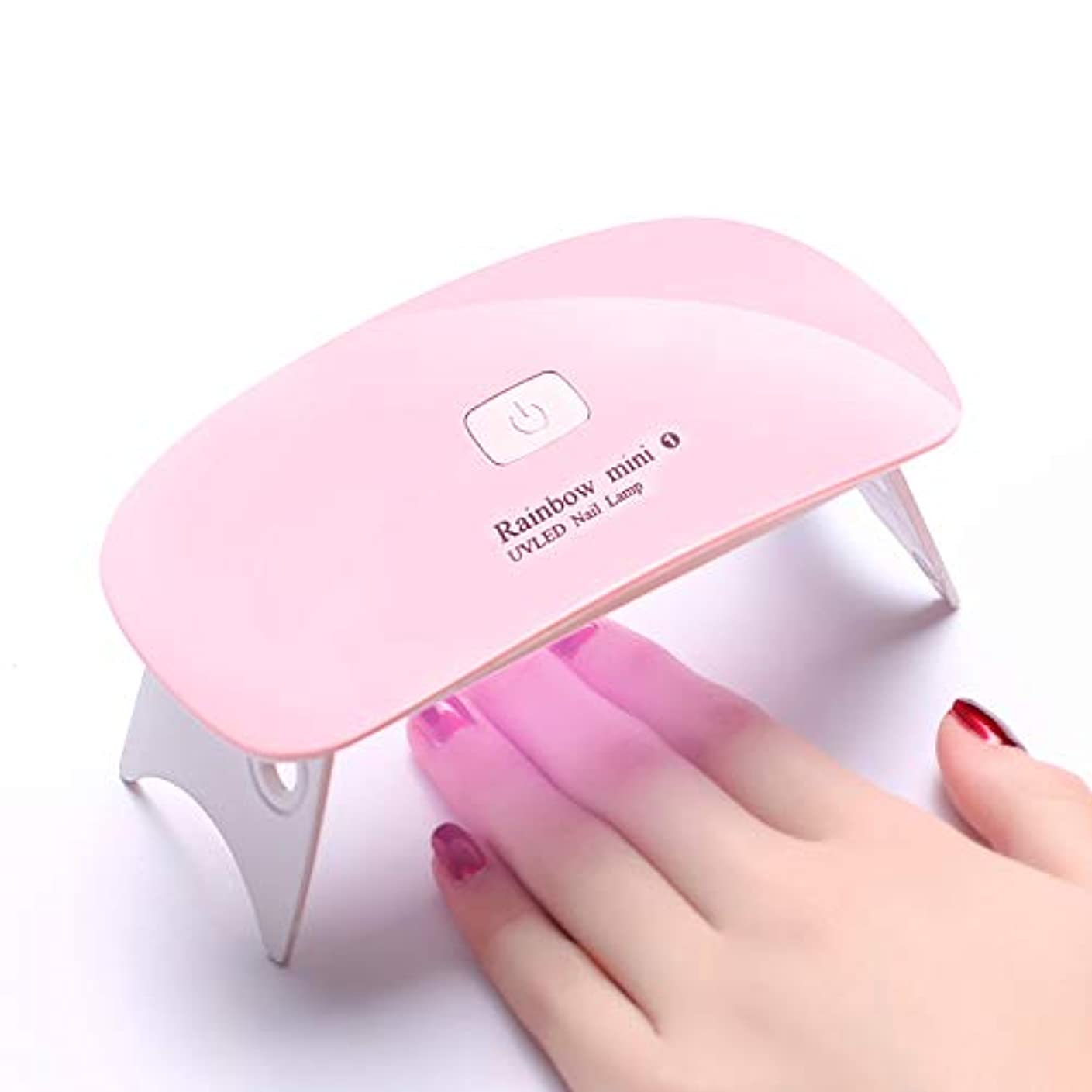 量チューリップ拒絶するLEDネイルドライヤー UVライトRaintern タイマー設定可能 折りたたみ式手足とも使える 人感センサー式 LED 硬化ライト UV と LEDダブルライト ジェルネイル用 ピンク