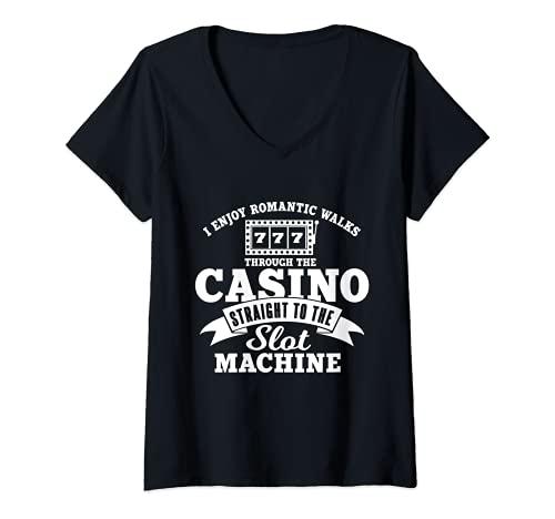 Mujer Disfruto de paseos románticos al casino | Jugador de la máquina tragaperras Camiseta Cuello V
