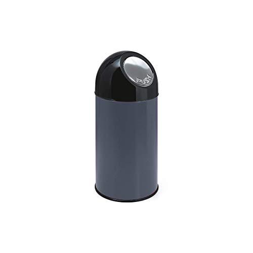 V-part poubelle avec pushdeckel metallik 40 litres