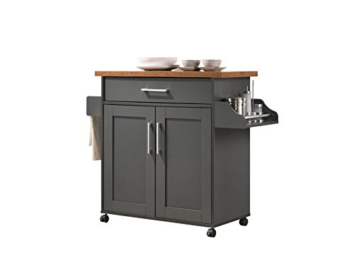 Hodedah Kitchen Island with Spice Rack, Towel Rack & Drawer, Grey with Oak Top