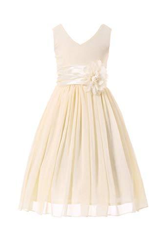 Bow Dream Flower Girl Dress Junior Bridesmaids V-Neckline Chiffon Cream Ivory 10