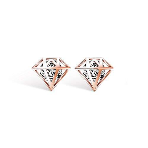 Emma joyas–Pendientes de mujer fijos a Lobo a forma de diamante pl. Oro rosa con cristales Swarovski Elements blancas–pack regalo