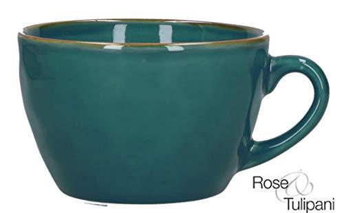Concerto Ottanio Breakfast Cup Frühstückstasse Türkis große Tasse rustikaler mediterraner Italien Retro Stil Becher Tasse Kaffeetasse