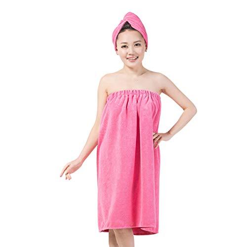 Lurrose Absorbente toalla de ducha de fibra de microfibra y gorro de secado de cabello cómodo vestido de baño Gym Spa Wrap para mujeres niñas (rosa)