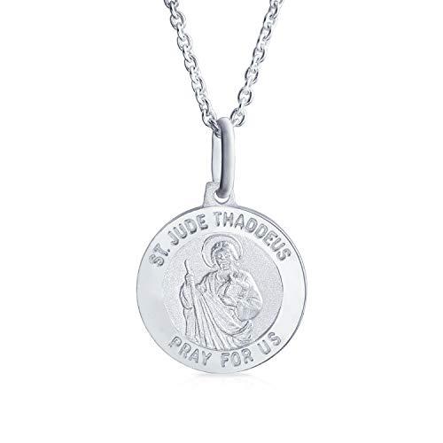 Medalla religiosa San Judas Tadeo patrón de causas sin esperanza, collar con colgante para hombres y mujeres, plata de ley personalizable