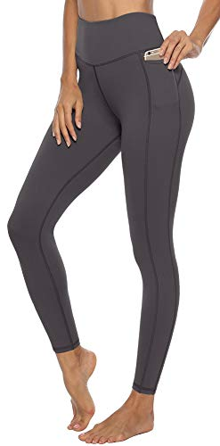 JOYSPELS Leggings Damen, Sporthose Damen Yogahose Sportleggins, Grau, L