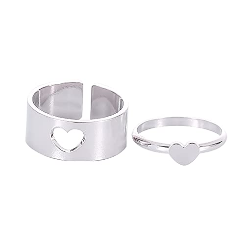 minjiSF Par de anillos a juego para mujer, anillos clásicos, joyas, alianzas, anillos de boda, anillos de compromiso, anillos de amistad, anillos de compromiso, anillos de banda (plata3)