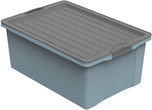 Rotho Compact Aufbewahrungsbox 38l mit Deckel, Kunststoff (PP recycelt) BPA-frei, blau/anthrazit, A3/38l (57,0 x 40,0 x 25,0 cm)