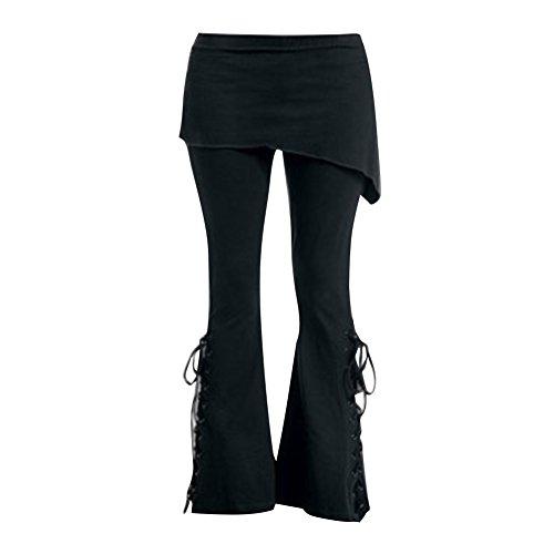 Juleya Pantalon Taille Plus Pantalons Longs Pantalon Vintage avec Mini-Jupes Taille Haute Pantalon Noir Leggings Évasé Rétro Gothique Décontractée (M, 1)
