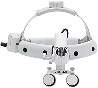 SoHome 5W LED Surgical Headlight 2.5X420mm Leather Headband Loupe with Light DY-105 White