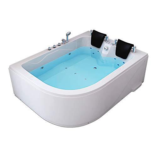 Home Deluxe - Whirlpool Badewanne - Blue Ocean XL weiß Links mit Massage für 2 Personen - Maße: 180 x 120 x 65 cm | Eckwanne, 2 Personen, Indoor Jacuzzi