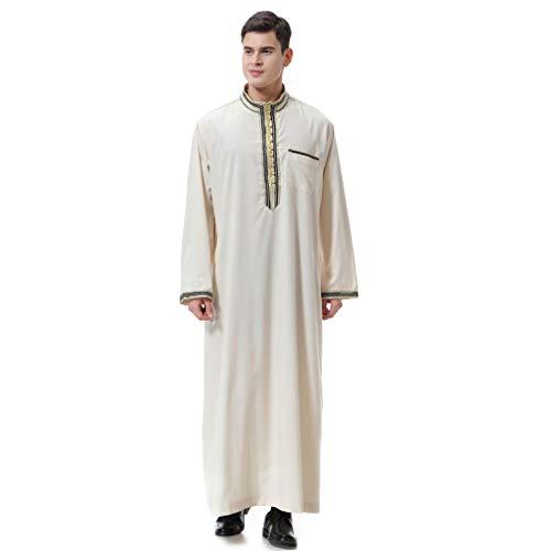 Geilisungren Thobe Herren Arabic Muslimische Kleidung Männer Robe Langarm Stickerei Arabisch Muslim Wear Dubai Thobe Daffah Sultan Saudi Roben Nahen Osten Traditionelle Kostüm