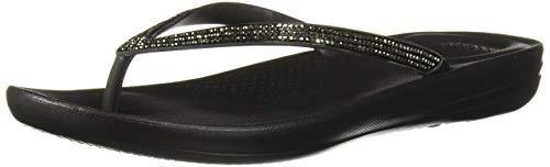 FitFlop Women's IQUSHION Sparkle Flip-Flop, Black, US07 M US