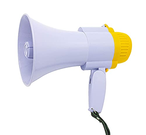 Megáfono 20W 25X15CM Altavoz Profesional portátil con Ajuste de Volumen Sirena, grabadora y Mango Plegable