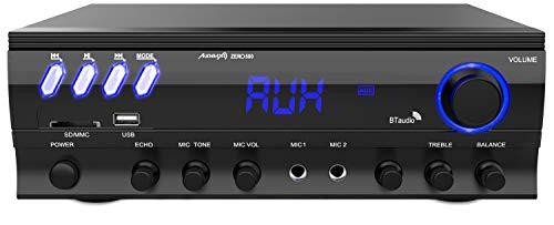 Audibax Zero 500 Amplificatore Hi-Fi, Ricettore Bluetooth Incorporato, Funzione Karaoke, Amplificatore Suono con Eccelente Qualità, telecomando