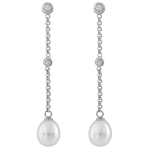 Bella Pearls - Orecchini da donna pendenti a goccia, in argento con perle d'acqua dolce