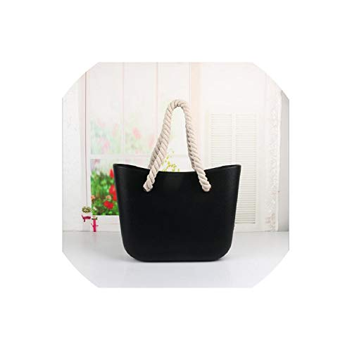 Leash Beach Obag Handbag Handles Women Classic Trim Bao Mini Fashion Silicone Shoulder Shopping Top Waterproof Evening O Bag,Black