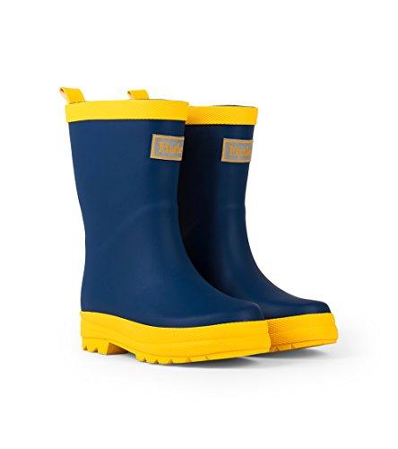 Hatley unisex child Classic Boots Raincoat, Navy & Yellow, 5 Toddler US