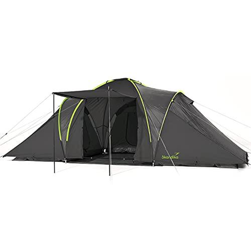 Skandika Daytona XXL - 6 Personas - Tienda de campaña Familiar - cúpula - 3 x cabinas - mosquiteras (Gris Oscuro/Verde)