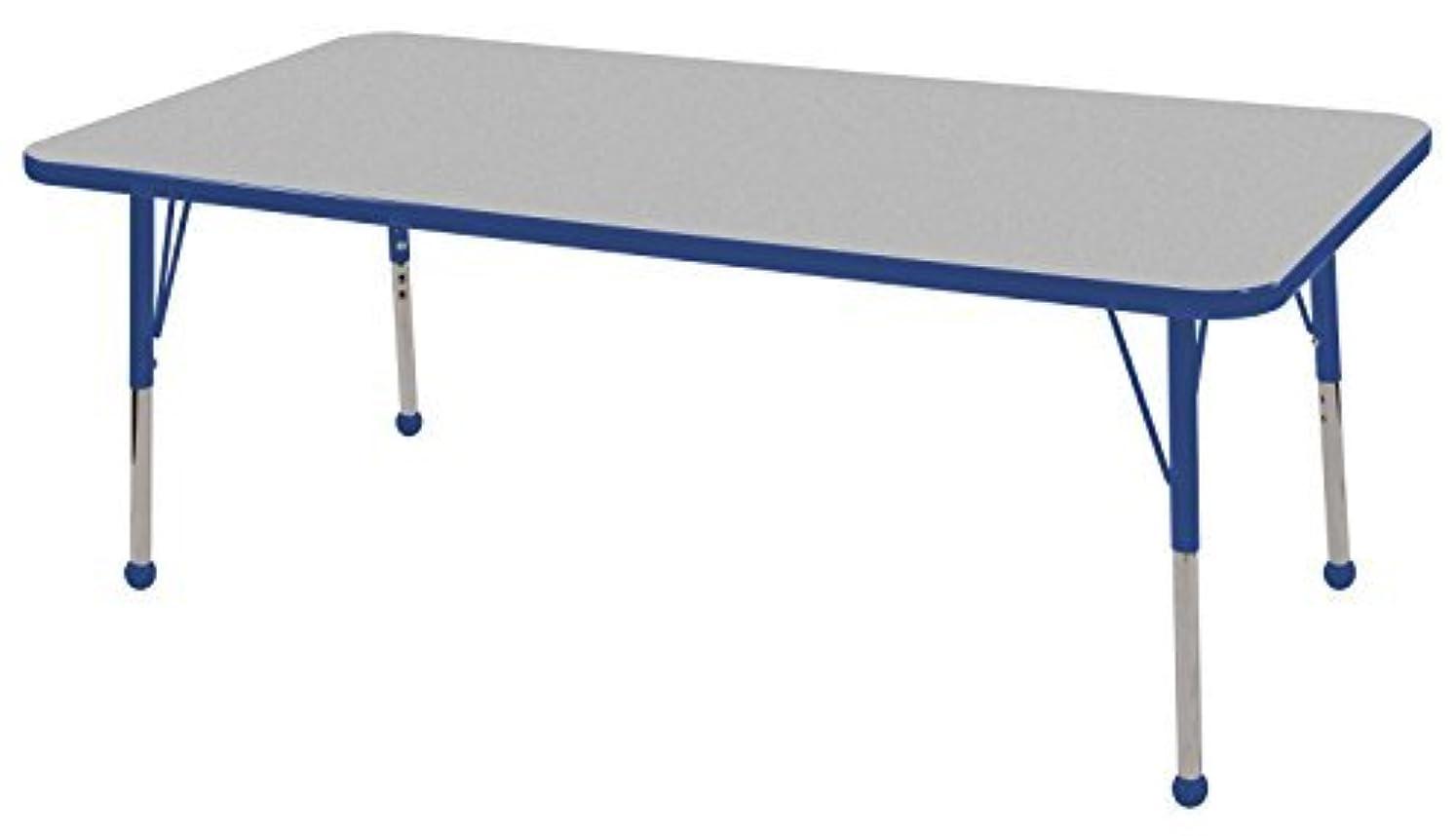 逆説払い戻し異議ECR4Kids 24 x 60 Rectangular Activity Table Gray Top/Blue Edge Standard Legs/Ball Glides Four 16 Blue School Stack Chairs [並行輸入品]
