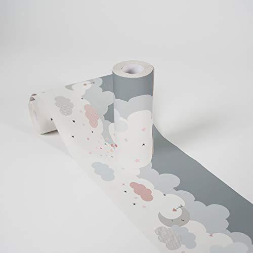 Kinderzimmer Bordüre selbstklebend Dreamy Sky Wandbordüre mit niedlichen Wolken für Babyzimmer und Kinderzimmer Wandtattoo für Mädchen und Jungen in weiß, hellgrau, grau