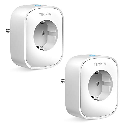 Presa Intelligente WiFi Smart Plug Spina Energy Monitor Compatibile con Google Home/Amazon Alexa/IFTTT,TECKIN Controllo Remoto Funzione di Temporizzazione Presa Wireless per iOS Android App (2pack)